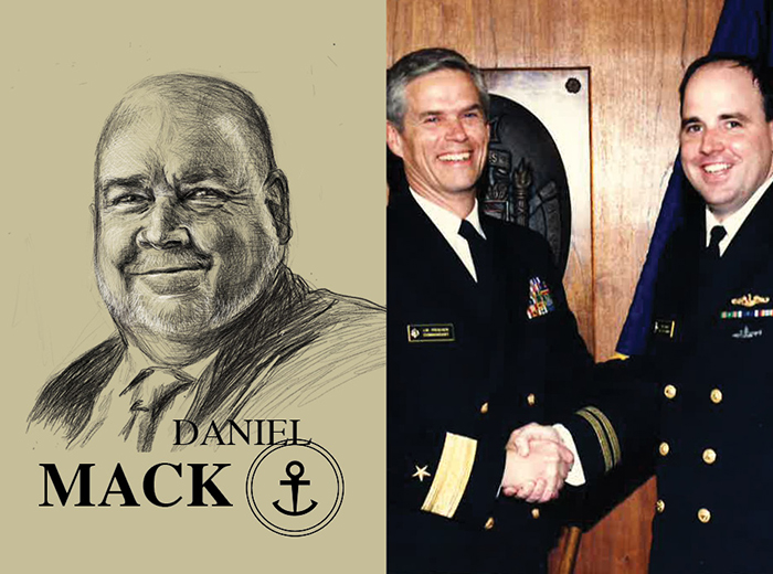 A pencil portrait of Daniel Mack. To the right, two men in uniform shake hands.