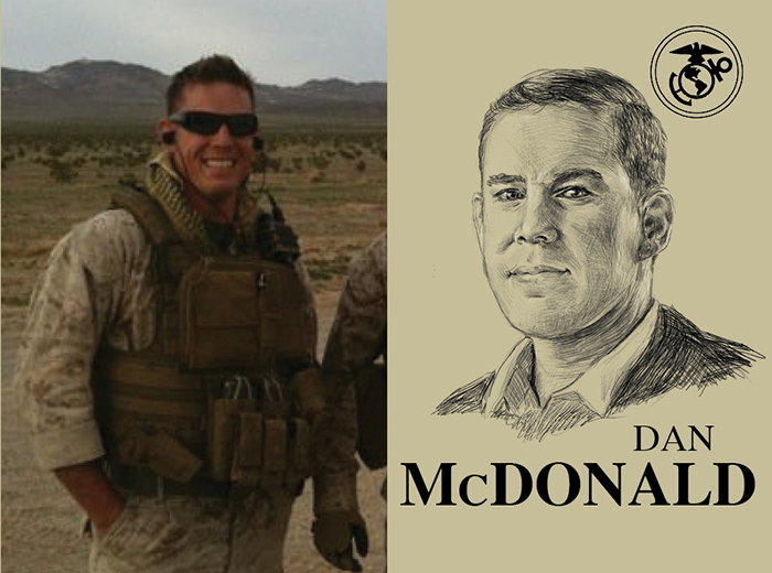A man in military gear smiles at the camera. To the right, a pencil portrait of Dan McDonald.