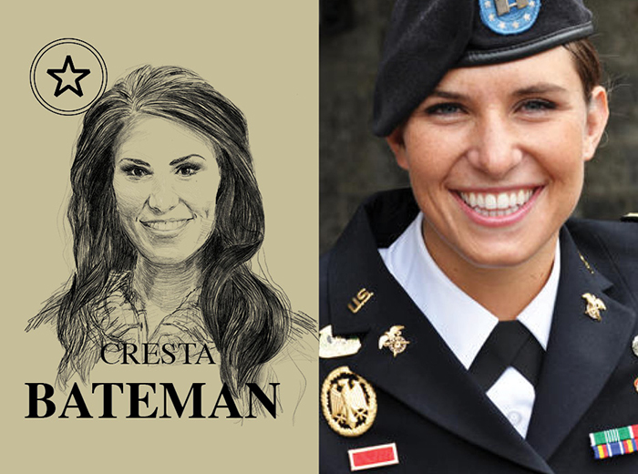A pencil portrait of Cresta Bateman. To the right, a photo portrait of a woman in a navy-colored uniform.
