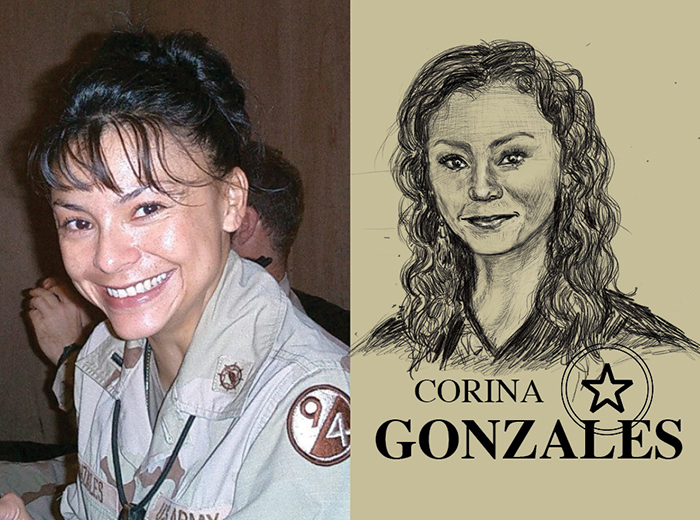 A portrait photo of a woman in an army uniform smiling at the camera. To the right, a pencil portrait of Corina Gonzales.