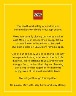 呼籲大家待在家,保持健康與安全! 樂高宣布將暫時關閉全球直營商店!