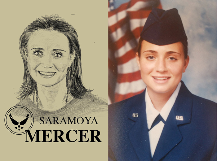 A pencil portrait of Saramoya Mercer. To the right, a photo portrait of a woman in uniform standing in front of the American flag.