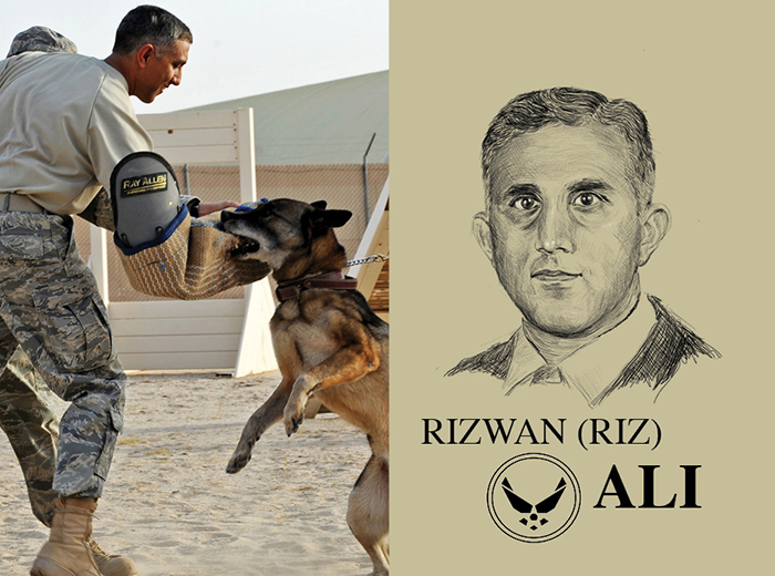 A military dog bites a man's padded sleeve as part of a training exercise. To the right, a pencil portrait of Rizwan (Riz) Ali.