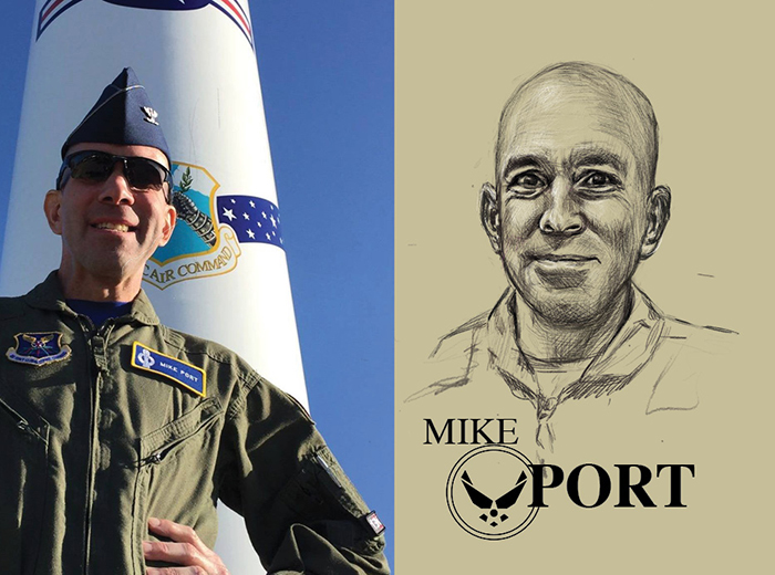 A man in uniform stands in front of a missile; behind the missile is a blue sky. To the right, a pencil portrait of Mike Port.