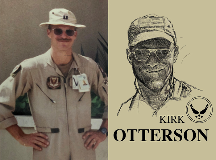 A man in a beige uniform and hat stands with his hands on his hips and smiles at the camera. To the right, a pencil portrait of Kirk Otterson.