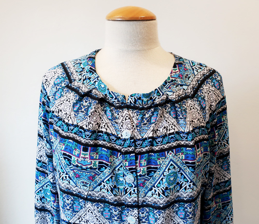 blue rayon top close up front