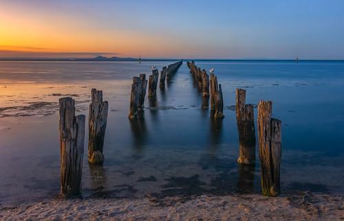 cliftonsprings le nikond7200 oldpylons sigmaart18 sunset beach longexposure photographybyjen pier