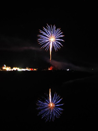 dark sky fireworks reflection
