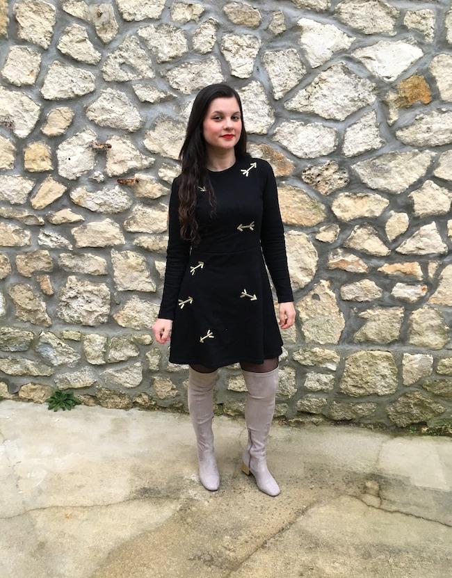 look-robe-carven-fleches-cuissardes-grises-blog-mode-la-rochelle
