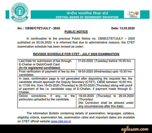Notice regarding extension of application fee and Correction window for CTET 2020