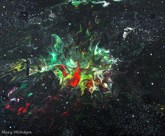 Nebula/Space Inspired Acrylic Pour Painting