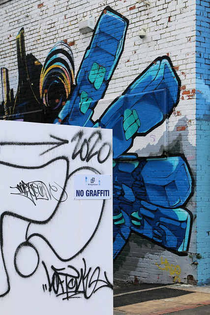 15th March 2020. No Graffiti. A Sign of the Times. Street Art by the Irwell at  Ordsall, Salford, Greater Manchester.