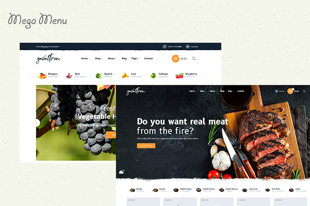 Galvatron Restaurant PrestaShop Theme Multiple menus