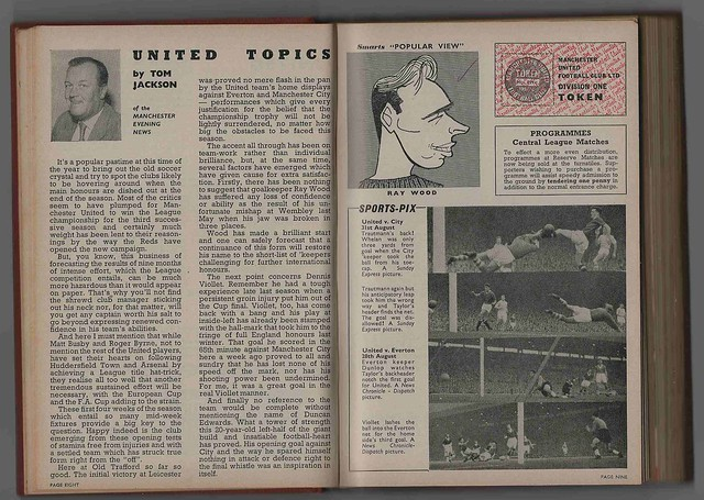 Manchester United v Leeds United League Division One Season 1957-8