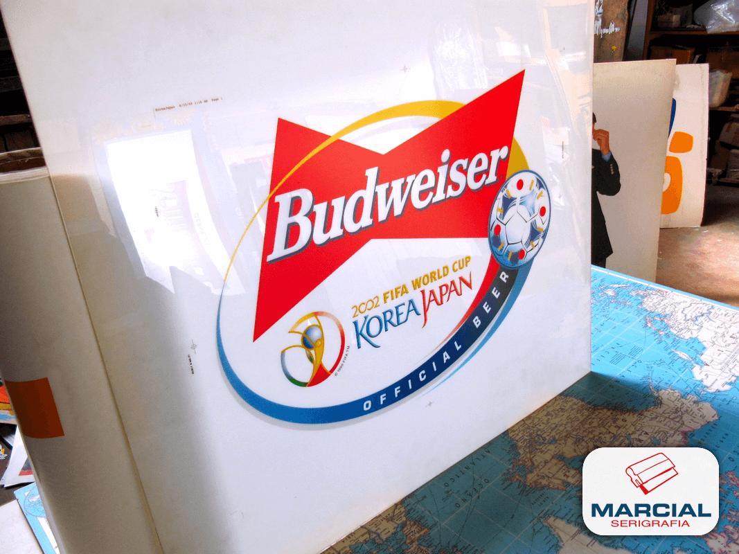 "Impresion serigráfica backlight sobre Alto impacto (pai) Translúcido de ""Budweiser - FIFA World Cup 2002 Korea Japan"" impreso a 4 colores CMYK por Marcial Serigrafia"
