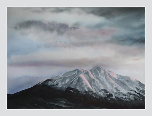 watercolor painting art fineart sopris mountsopris carbondale colorado mountain rockies rockymountains snow sky clouds landscape