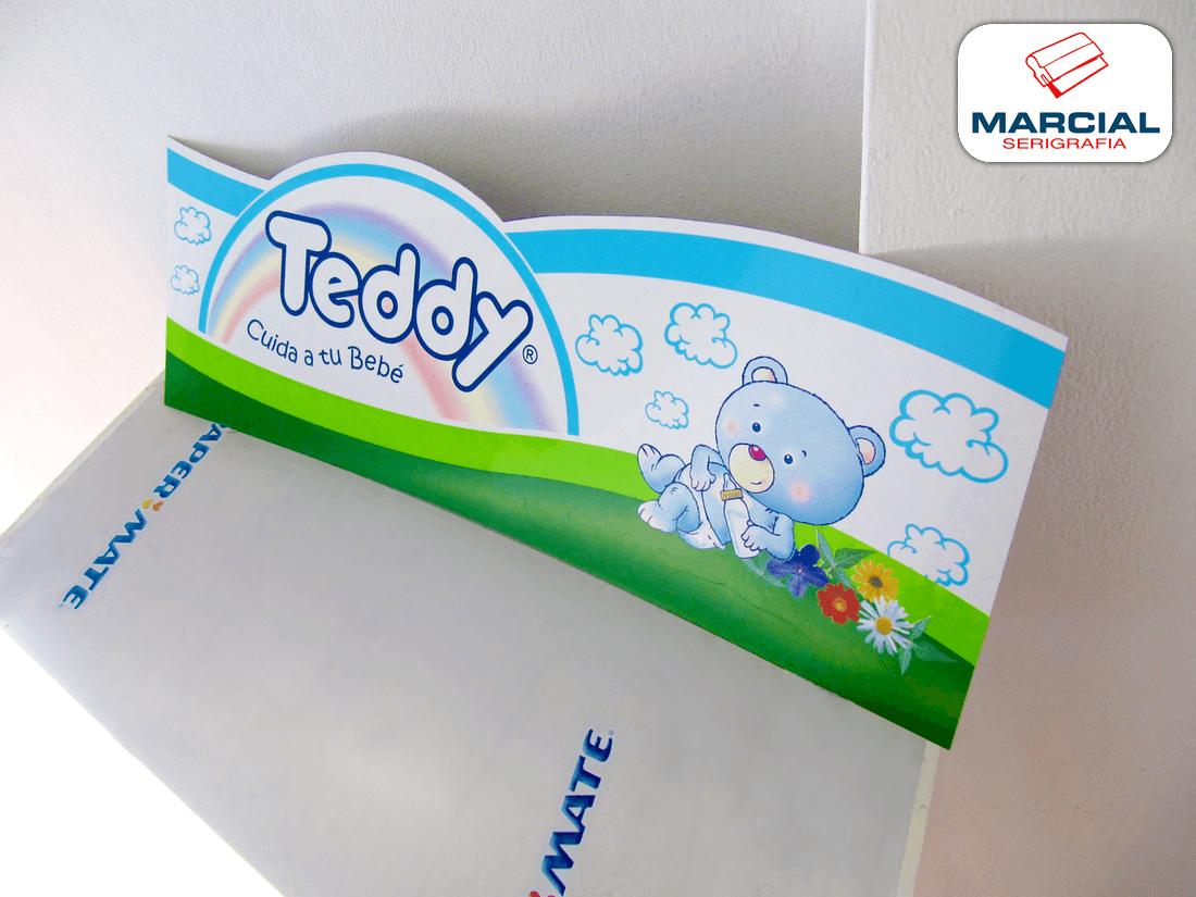 """Cartel impreso en serigrafía en cuatricromia CMYK + 2 colores especiales para la marca """"Teddy"""" e impreso por Marcial Serigrafía."""