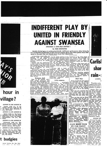 Swansea City V Carlisle United 24-7-1971 Match Report | by cumbriangroundhopper