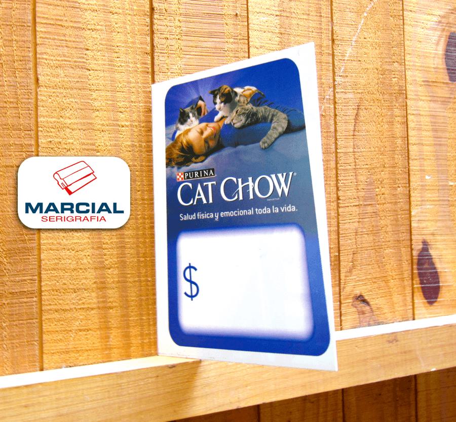 """Impresión en serigrafía sobre alto impacto en cuatricromia CMYK de Purina y su producto """"Cat Chow"""" e impreso en nuestros talleres de Marcial Serigrafía."""