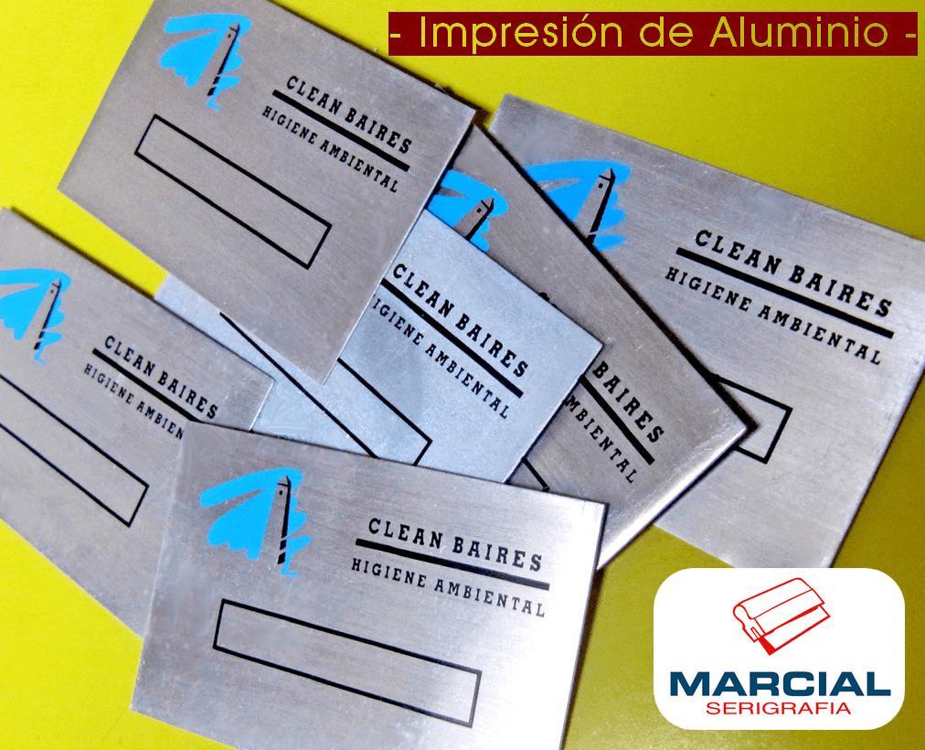 """Serigrafía sobre aluminio. Trabajo encargado por la empresa """"Clean Baires"""" e impresos a 2 colores por Marcial Serigrafía."""
