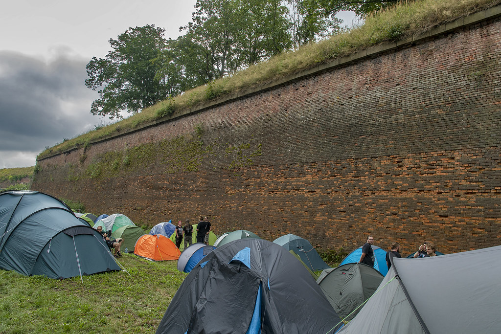 Camping against the Josefov Fortress wall at the Brutal Assault Festival