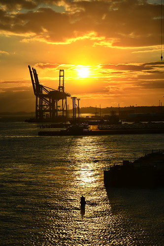 nikond850 auckland sunrise port wharf sea cranes newzealand water refections