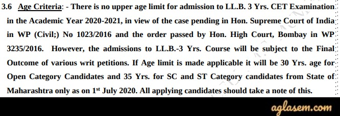 Age Criteria for LLB 3 Year