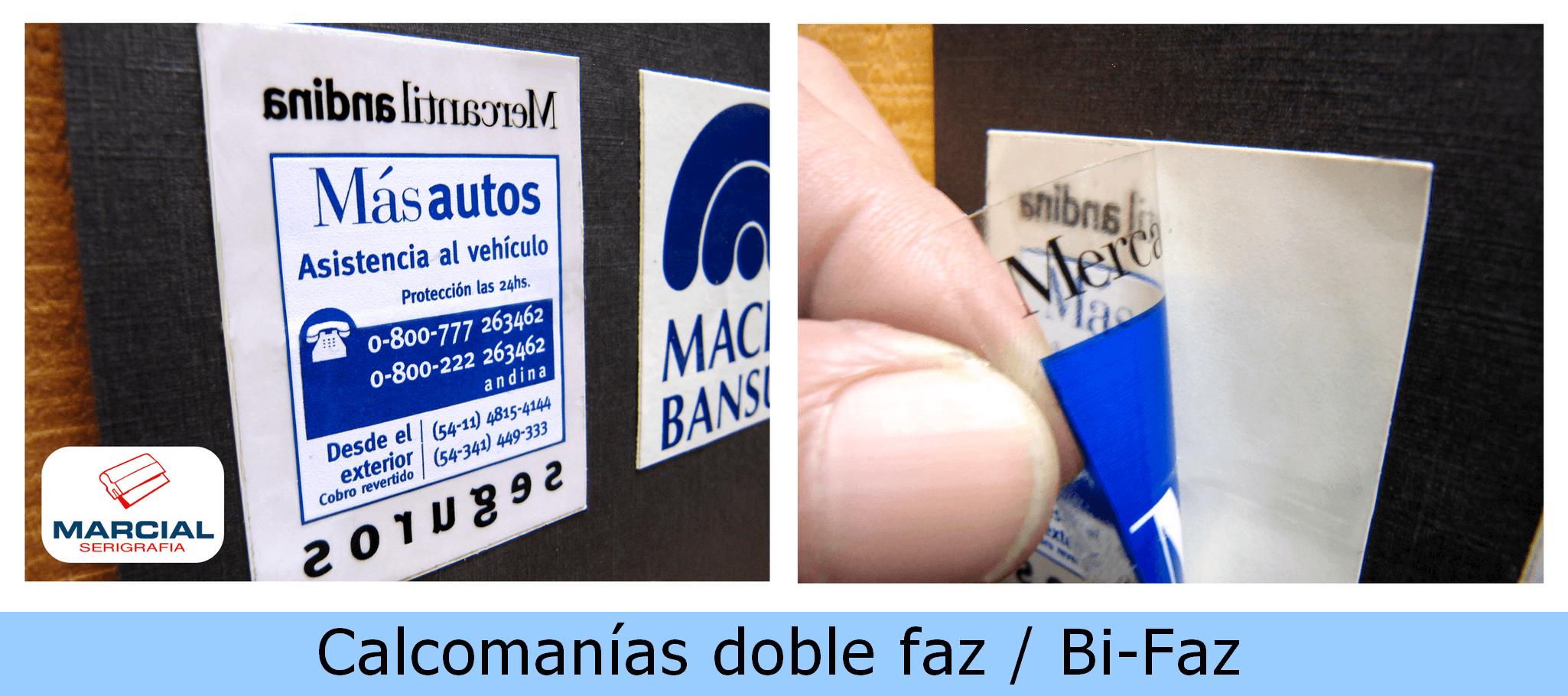 Calcomanía doble faz, bi-faz de doble cara impresa a 2colores/1