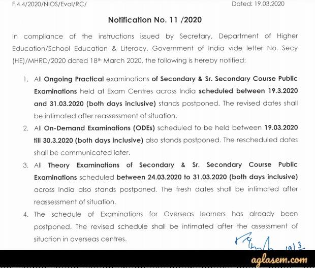 Notice for postponement of NIOS exams