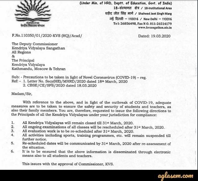 Notice regarding postponement of all activities at KV