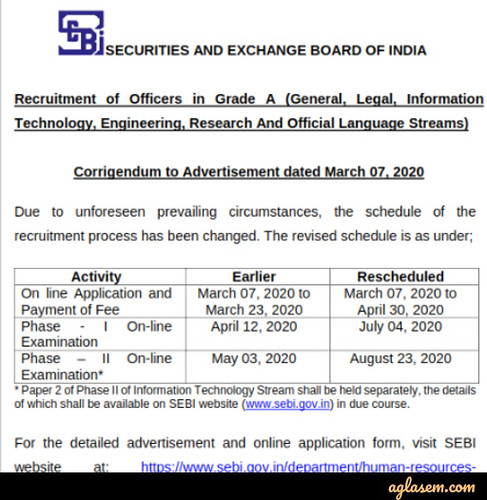 SEBI Grade A Recruitment 2020 Revised Schedule Notification