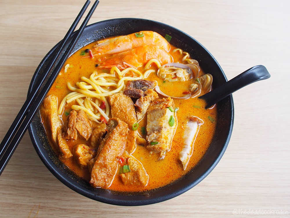 curry mee, curry noodle, food, food review, ipoh, ipoh curry noodle, review, singapore, yap's noodle, yishun, yishun park hawker centre, 叶福家乡面, roasted pork,seafood,