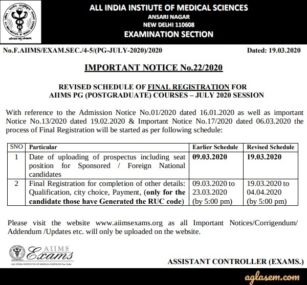 AIIMS PG 2020 Important Notice