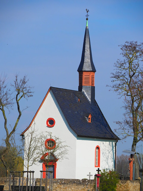 Moenchhof Chapel with old Grave Yard in Raunheim, Germany, near Airport Frankfut - With a History of many Hundreds of Years
