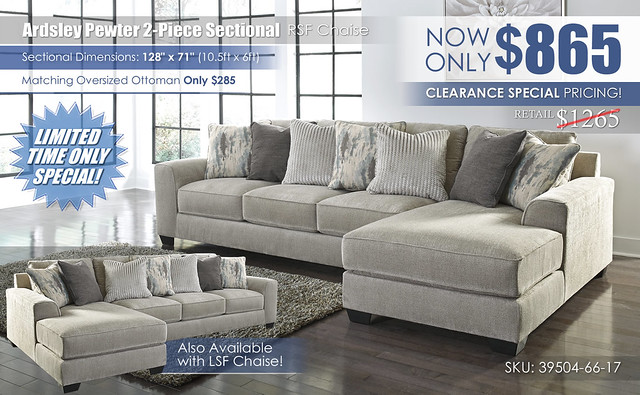 Ardsley Pewter 2 Piece RSF Chaise Sectional_Clearance_39504-66-17