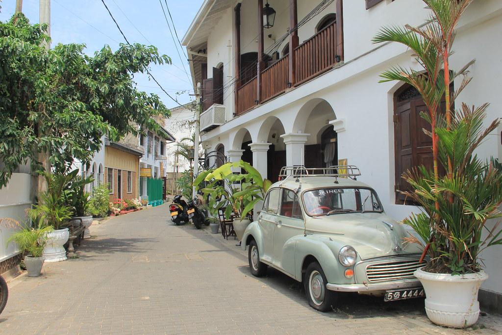 Classic car on an empty Galle street, Sri Lanka