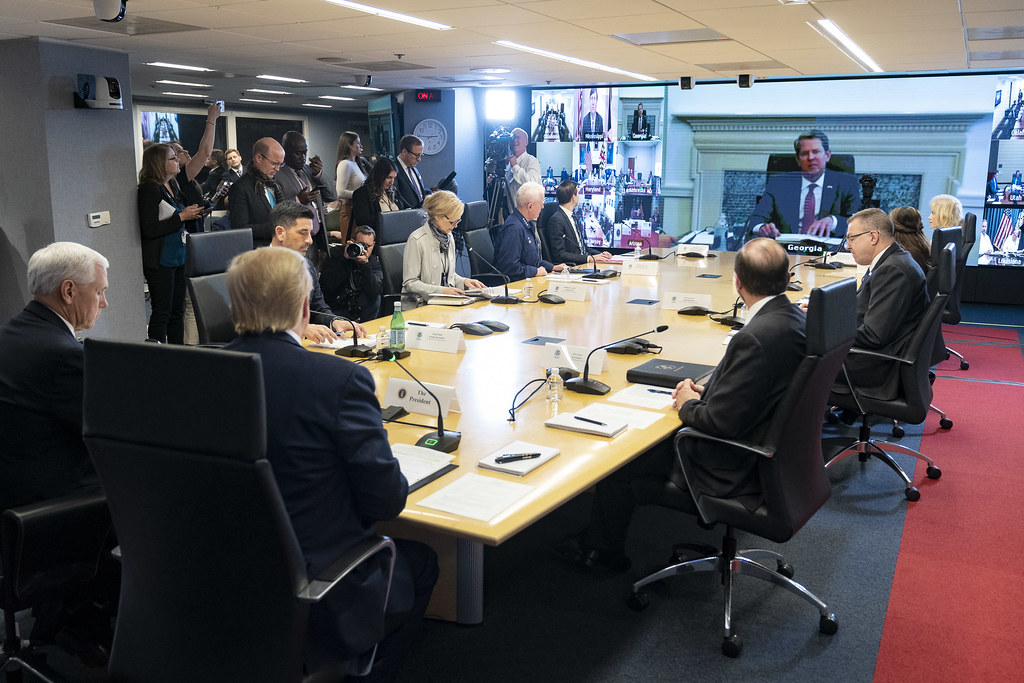 President Trump Participates in a Teleconference with Governors at the Federal Emergency Management Center Headquarters
