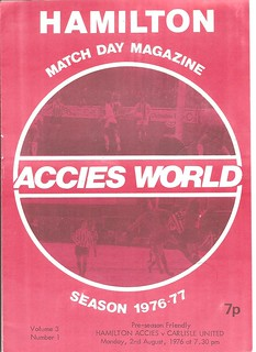 Hamilton Accies V Carlisle United 2-8-1976 | by cumbriangroundhopper