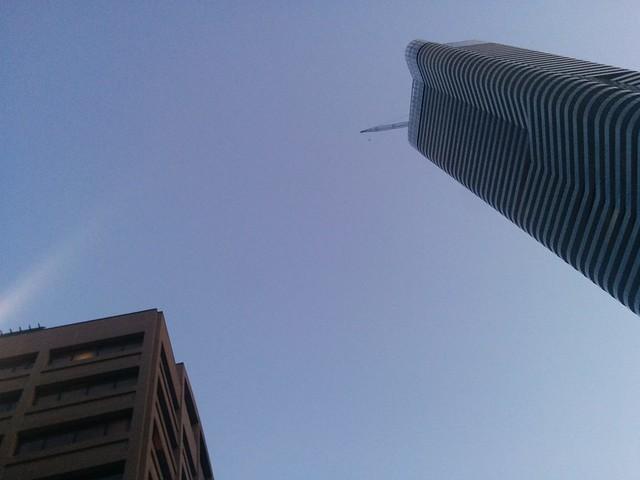 Looking up at the blue #toronto #yongeandwellesley #blue #sky #evening #skyline #latergram