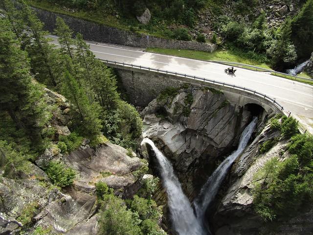 Handeckfall Suspension Bridge in Guttannen, Bernese Oberland in Switzerland