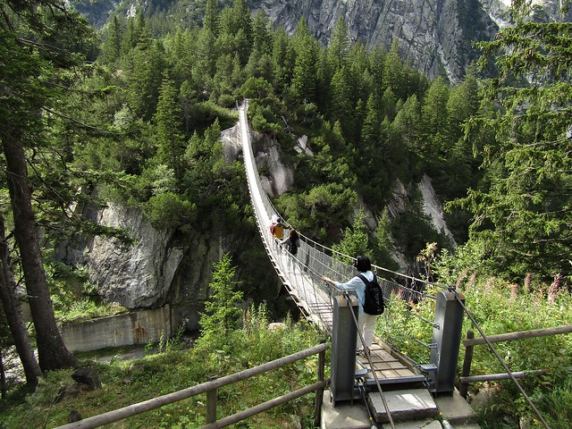 Handeckfall Suspension Bridge in Guttannen, Bernese Oberland in Switzerland