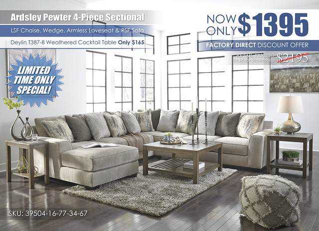 Ardsley Pewter 4-Piece Sectional_Clearace_39504-16-34-77-67-T387