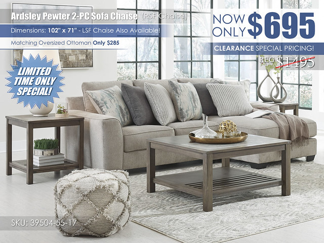Ardsley Pewter 2-PC Sectional_Clearance_39504-55-17