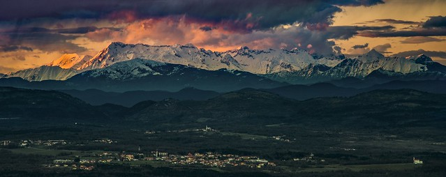 The entire massif of Mount Canin (Kanin, 2587 m.) seen from Monte Lanaro (546 m.) Alpi Giulie, Julian Alps