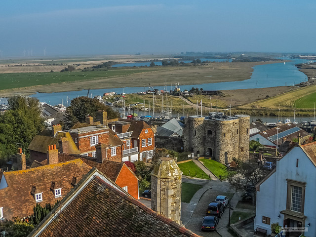 Romney Marsh and River Rother from St. Mary's Parish Church Tower, Rye, East Sussex.