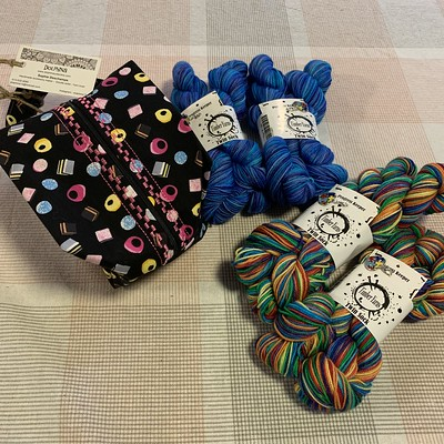 Timber Yarns Autism Awareness offerings I bought to support it and an Allsorts Bag I bought myself that may or may not be for future draws!