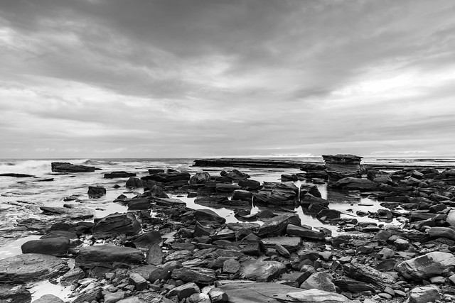 Rocky Seacape in Black and White