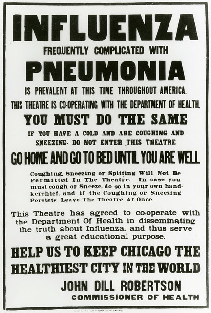 Influenza frequently complicated with pneumonia is prevalent at this time throughout America