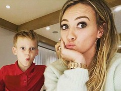 Hilary Duff Shares Family Photo While Making Birthday Cake With Luca
