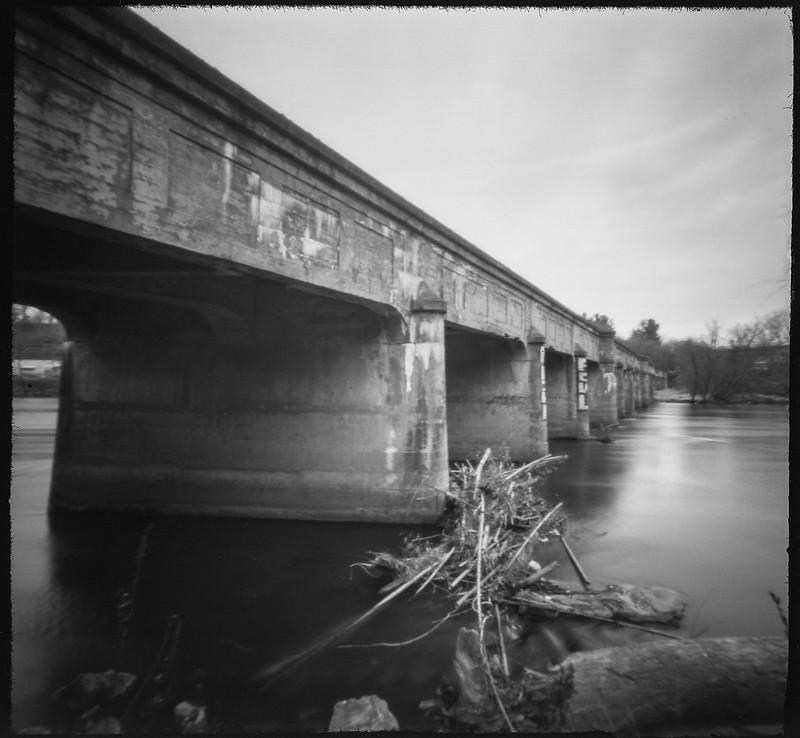 branch pile, French Broad River, old railroad bridge, urban decay, Asheville, NC, 6x6 pinhole camera, Ilford Pan F 50, Moersch Eco Film Developer, 3.17.20